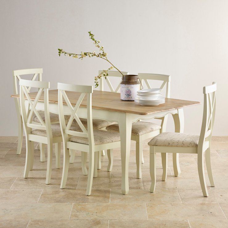 """Bella Brushed Oak and Painted 4ft 7"""" Extending Dining Set with 6 Bella Script Beige Chairs"""