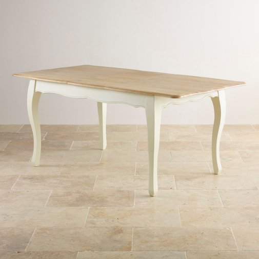 "Bella Brushed Oak and Painted 4ft 7"" x 3ft Extending Dining Table"