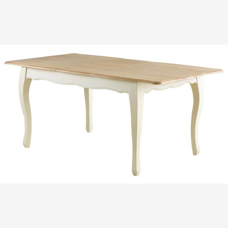 """Bella Brushed Oak and Painted 4ft 7"""" x 3ft Extending Dining Table - Image 7"""