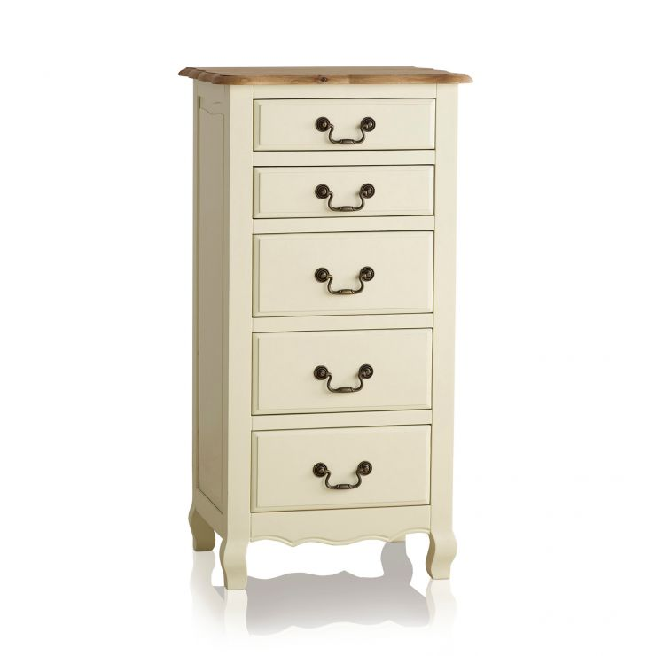 Bella Brushed Oak and Painted 5 Drawer Tallboy