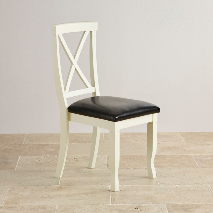 Bella Brushed Oak and Painted and Black Leather Dining Chair
