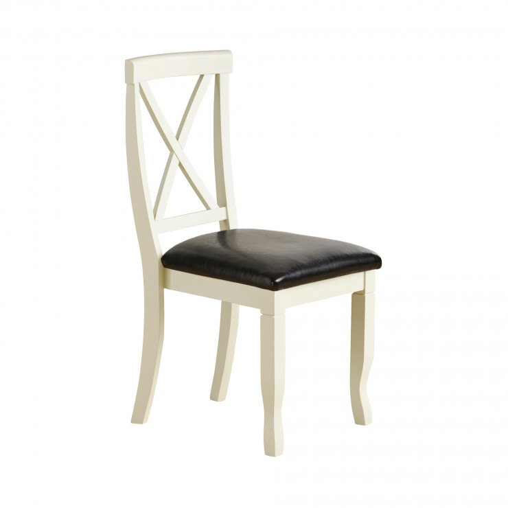 Bella Brushed Oak and Painted and Black Leather Dining Chair - Image 2