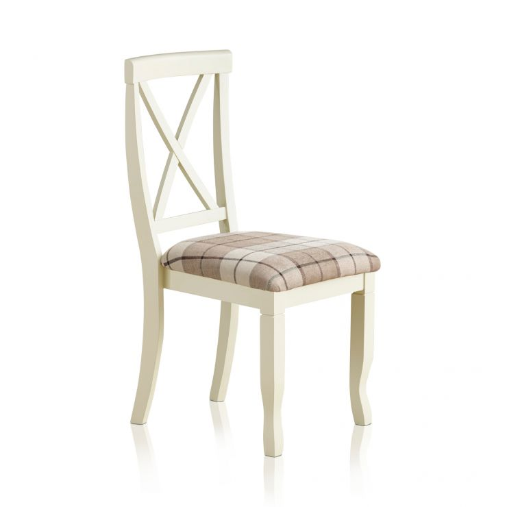 Bella Brushed Oak and Painted and Check Brown Fabric Chair - Image 4