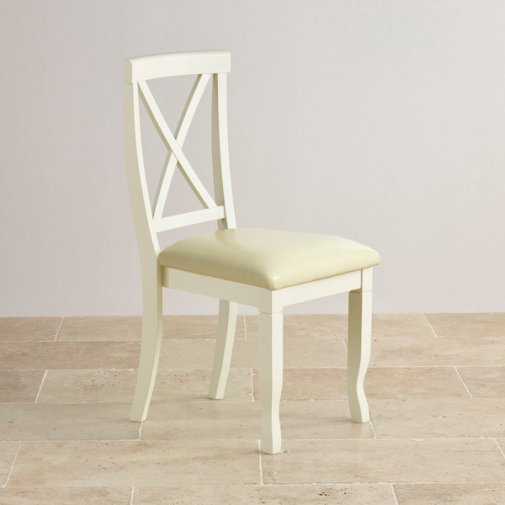 Bella Brushed Oak and Painted and Cream Leather Dining Chair