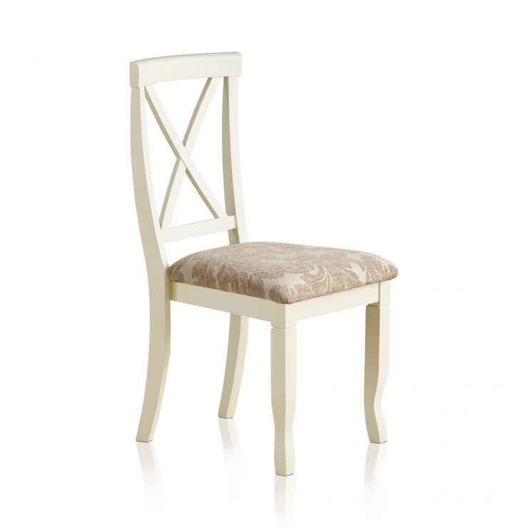 Bella Brushed Oak and Painted and Patterned Beige Fabric Dining Chair - Image 4