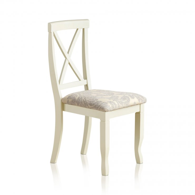 Bella Brushed Oak and Painted and Patterned Grey Fabric Dining Chair - Image 3