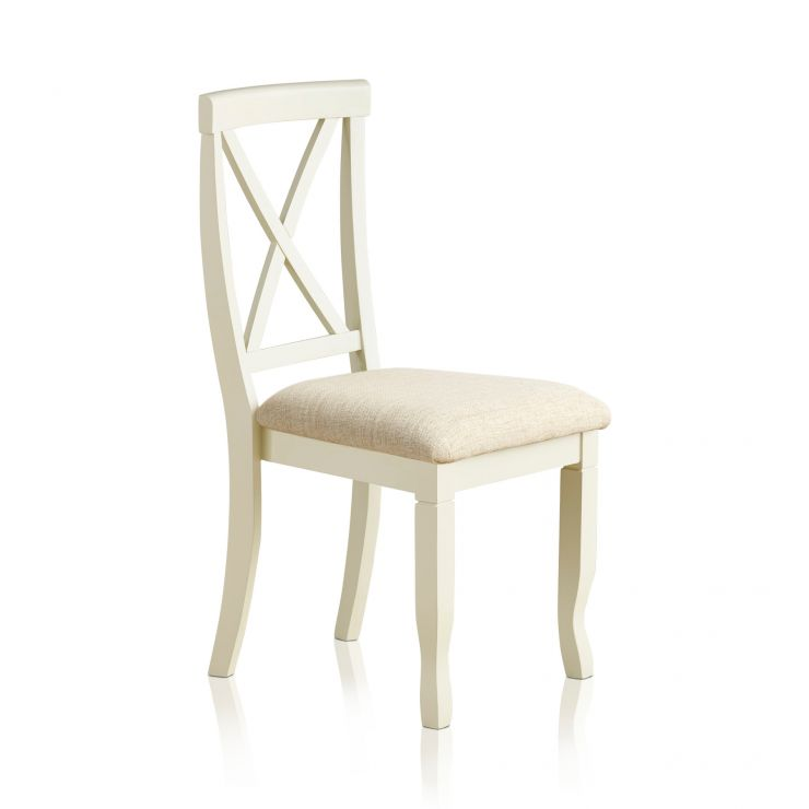 Bella Brushed Oak and Painted and Plain Beige Fabric Dining Chair - Image 4
