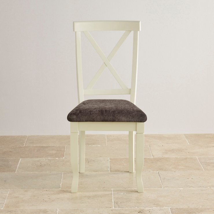 Bella Brushed Oak and Painted and Plain Charcoal Fabric Dining Chair