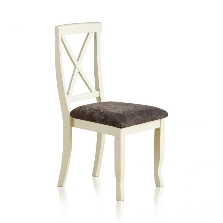 Bella Brushed Oak and Painted and Plain Charcoal Fabric Dining Chair - Image 4