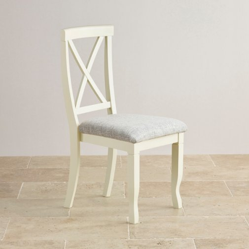 Bella Brushed Oak and Painted and Plain Grey Fabric Dining Chair