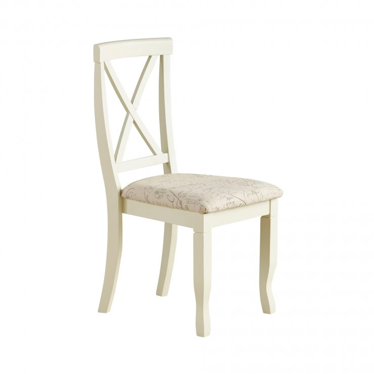 Bella Brushed Oak and Painted and Script Beige Fabric Chair - Image 5