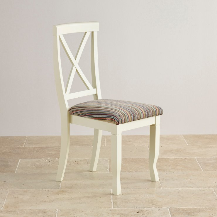 Bella Brushed Oak and Painted and Striped Multi-coloured Fabric Chair