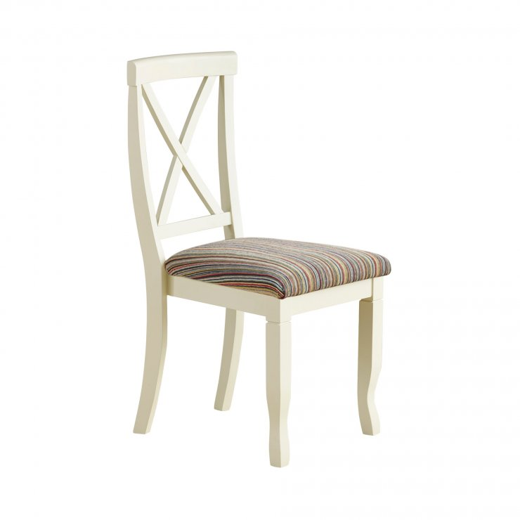 Bella Brushed Oak and Painted and Striped Multi-coloured Fabric Chair - Image 3