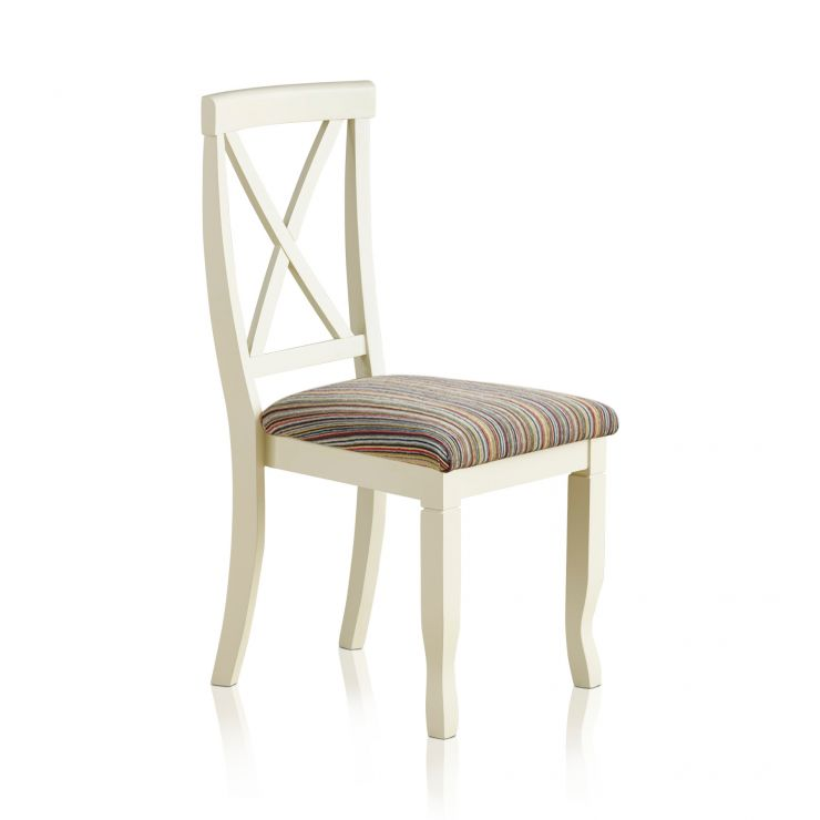Bella Brushed Oak and Painted and Striped Multi-coloured Fabric Chair - Image 4