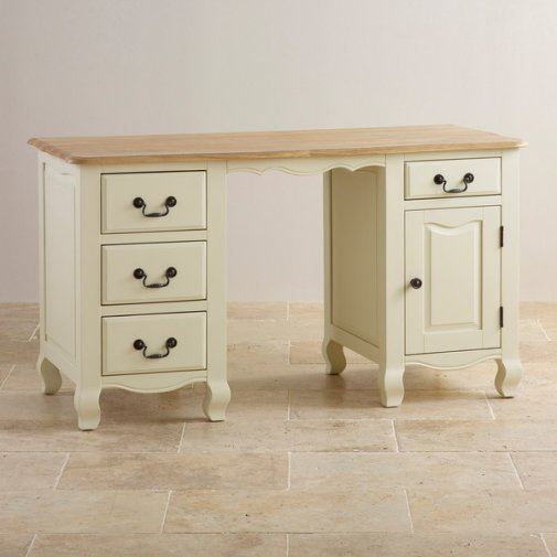 Bella Brushed Oak and Painted Computer Desk