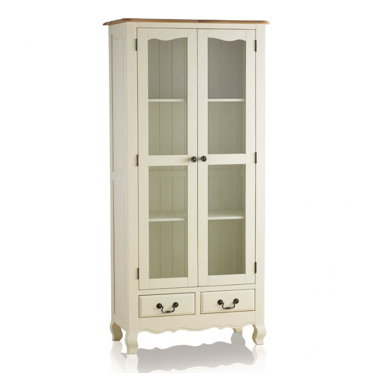 Bella Brushed Oak and Painted Display Cabinet - Image 6