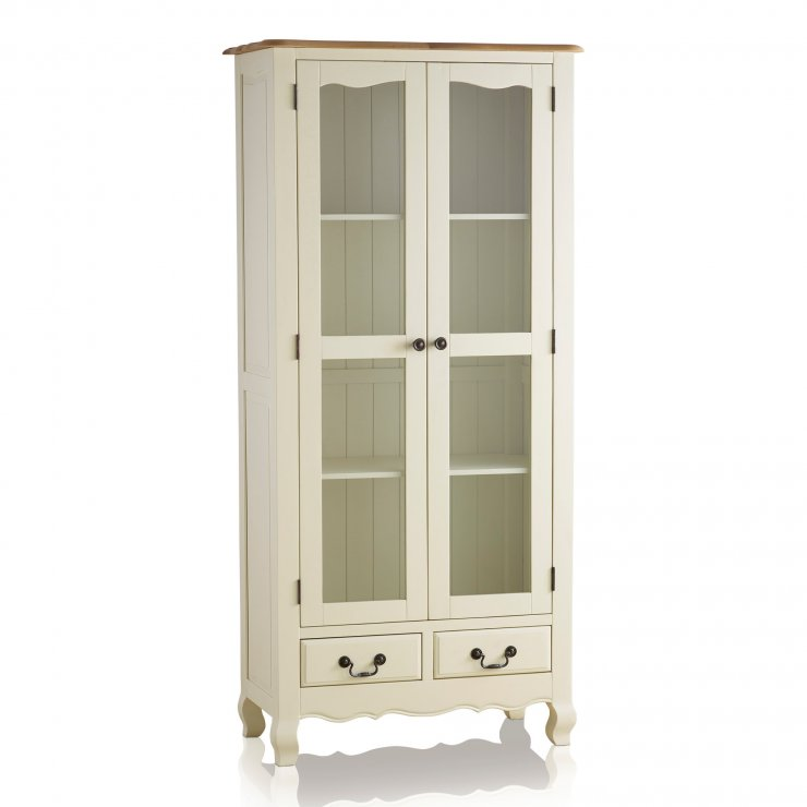 Bella Brushed Oak and Painted Display Cabinet - Image 1