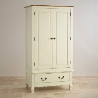 Bella Brushed Oak and Painted Double Wardrobe