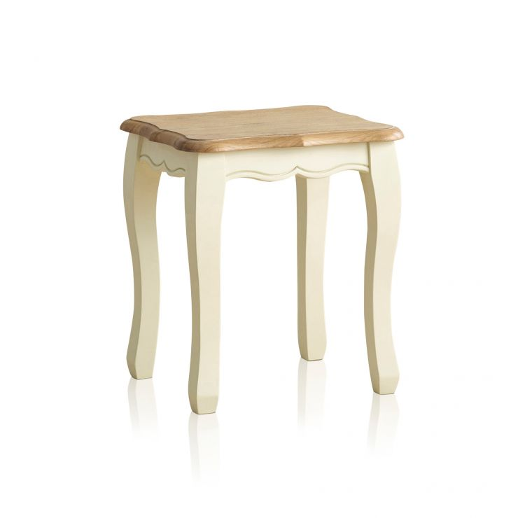 Bella Brushed Oak and Painted Dressing Stool - Image 5