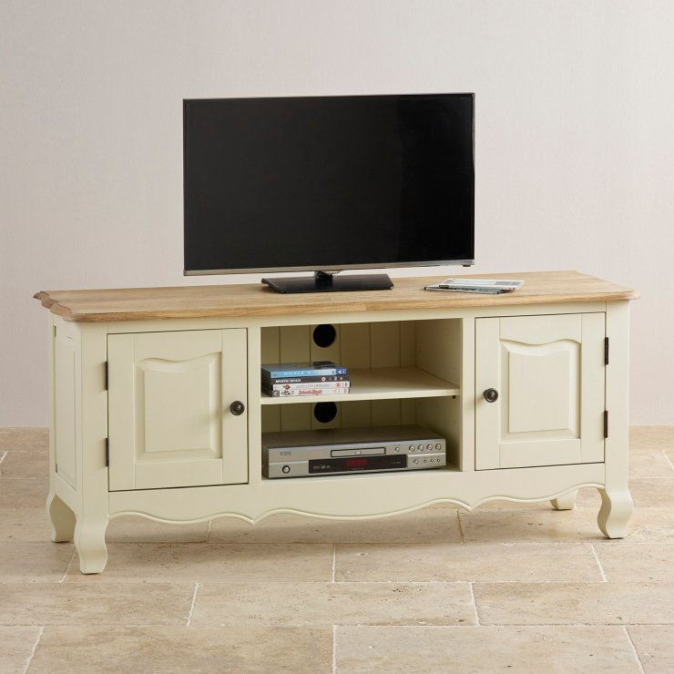Bella Brushed Oak and Painted Large TV Cabinet