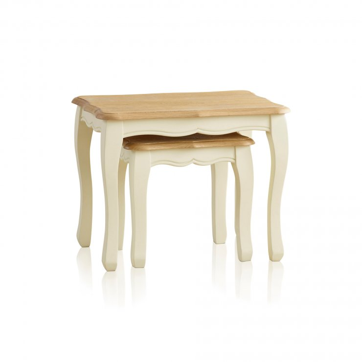 Bella Brushed Oak and Painted Nest of Tables - Image 4