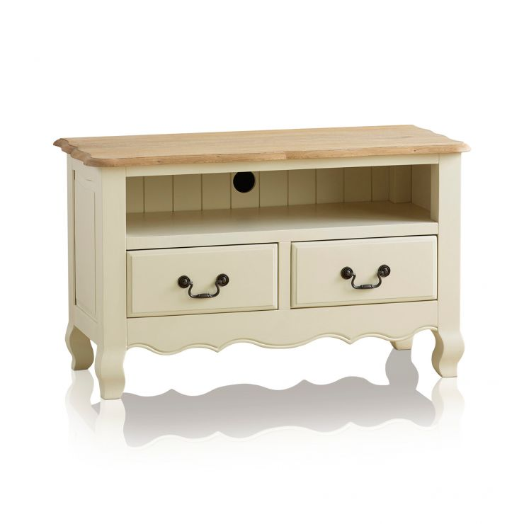 Bella Brushed Oak and Painted Small TV Cabinet - Image 5