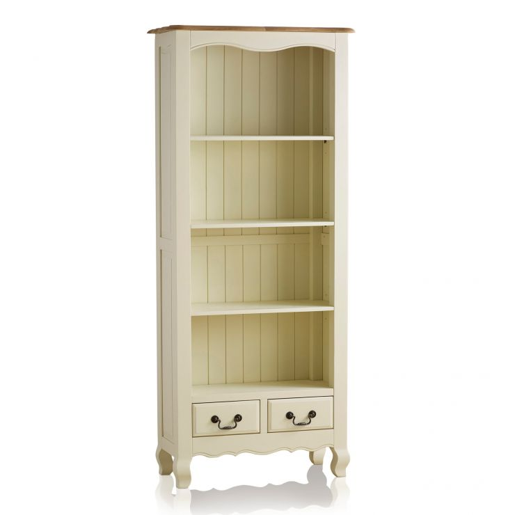 Bella Brushed Oak and Painted Tall Bookcase - Image 5