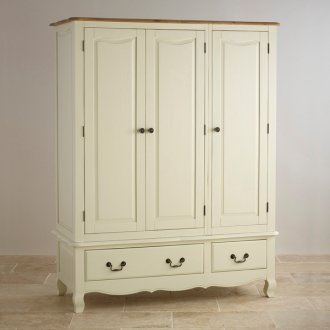 Bella Brushed Oak and Painted Triple Wardrobe