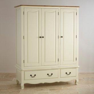 Bella Brushed Oak and Painted Triple Wardrobe