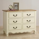 Bella Brushed Oak and Painted Wide 6 Drawer Chest - Thumbnail 2