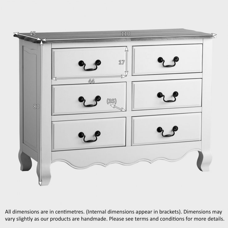 Bella Brushed Oak and Painted Wide 6 Drawer Chest