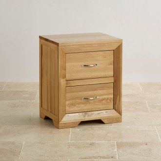 Bevel Natural Solid Oak 2 Drawer Bedside Table