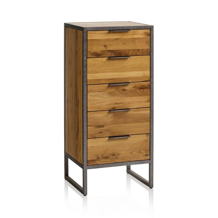Brooklyn Natural Solid Oak and Metal 5 Drawer Tallboy
