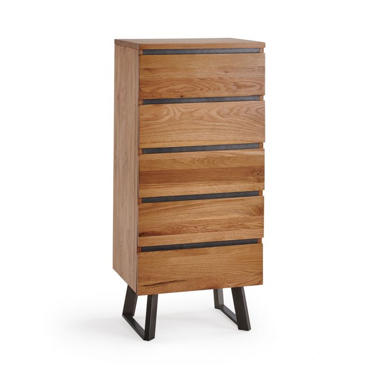 Boston Natural Solid Oak and Metal 5 Drawer Tallboy