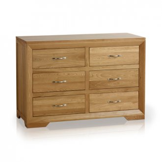 Bevel Natural Solid Oak 6 Drawer Chest