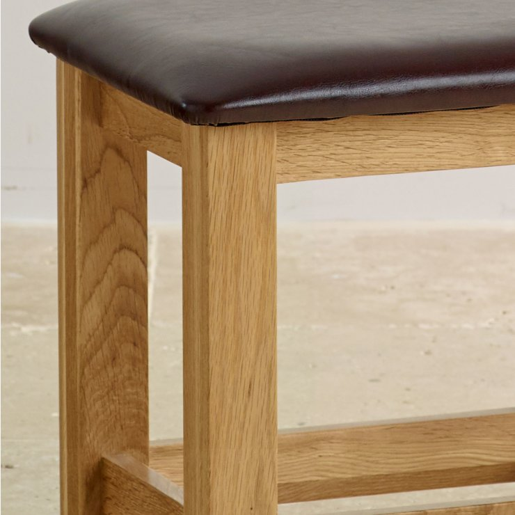 Bevel Natural Solid Oak and Leather Dressing Stool