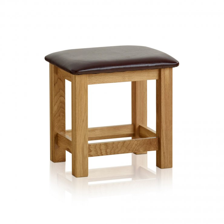 Bevel Natural Solid Oak and Leather Dressing Stool - Image 4