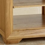 Bevel Natural Solid Oak Bedside Table with 1 Shelf - Thumbnail 3