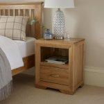 Bevel Natural Solid Oak Bedside Table - Thumbnail 6