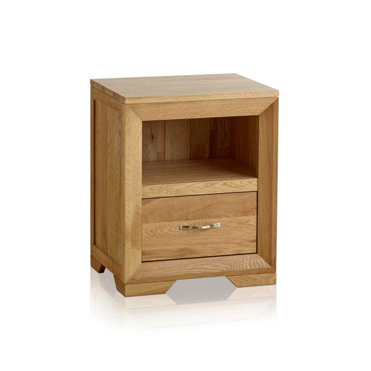 Bevel Natural Solid Oak Bedside Table - Image 7