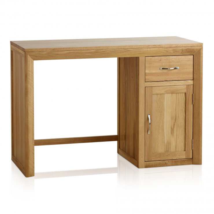 Bevel Natural Solid Oak Computer Desk - Image 1