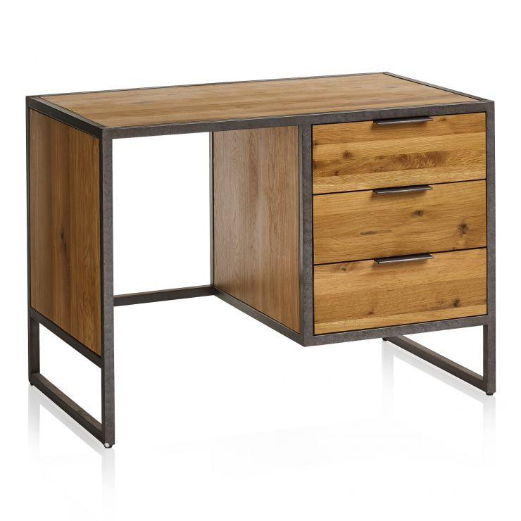 Brooklyn Natural Solid Oak and Metal Dressing Table
