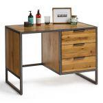 Brooklyn Natural Solid Oak and Metal Dressing Table - Thumbnail 4