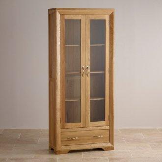 Bevel Natural Solid Oak Glazed Display Cabinet