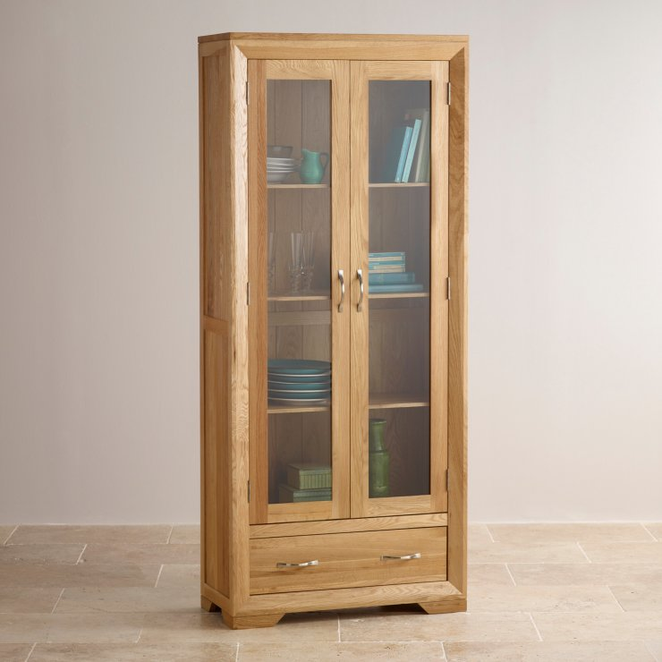 Bevel Natural Solid Oak Glazed Display Cabinet