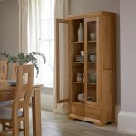Bevel Natural Solid Oak Glazed Display Cabinet - Thumbnail 4