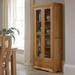 Bevel Natural Solid Oak Glazed Display Cabinet - Thumbnail 3