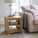 Bevel Natural Solid Oak Lamp Table - Thumbnail 5