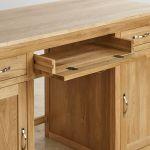 Bevel Natural Solid Oak Large Computer Desk - Thumbnail 5