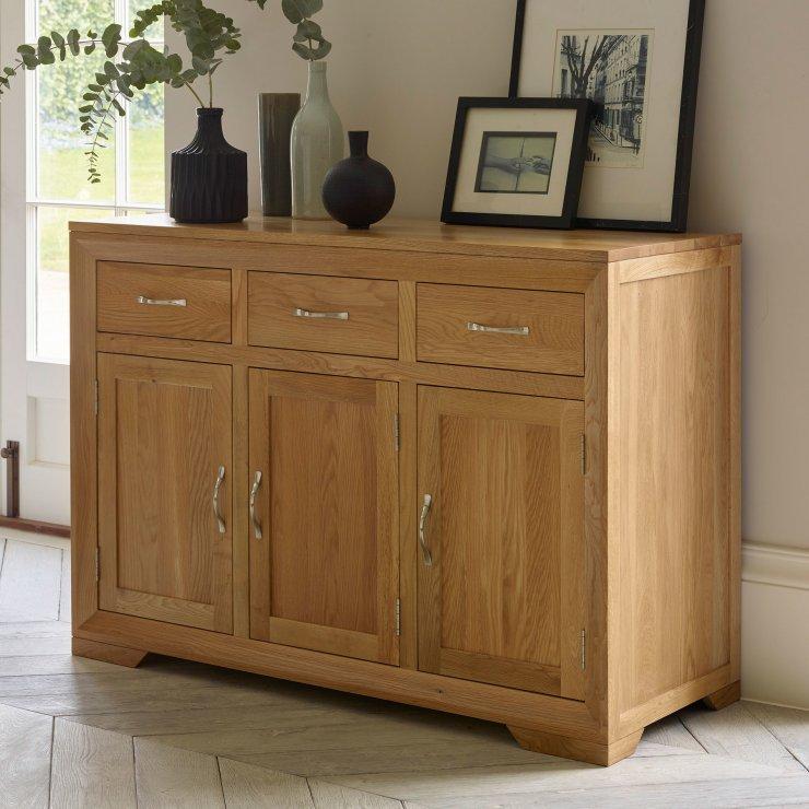 Bevel Natural Solid Oak Large Sideboard